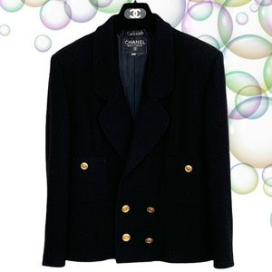 Chanel Boutique Garfinkel's Black Blazer Tweed